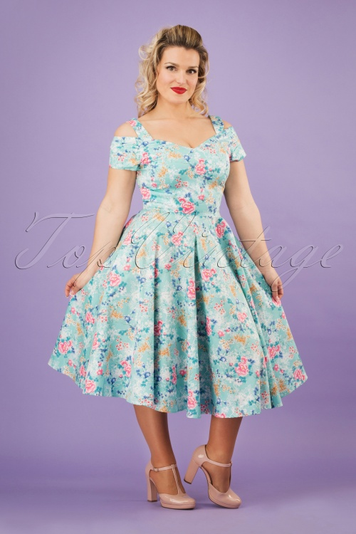 Bunny 28827 Yoko 50's Dress Blue Flowers Roses Pink Swingdress 20190206 1W