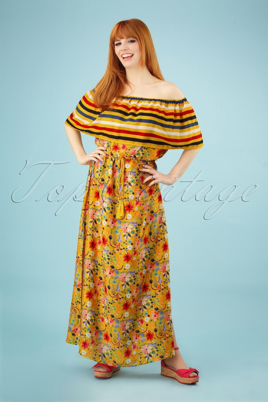 70s Dresses – Disco Dresses, Hippie Dresses, Wrap Dresses 70s Saffron Maxi Beach Dress in Mustard �69.03 AT vintagedancer.com