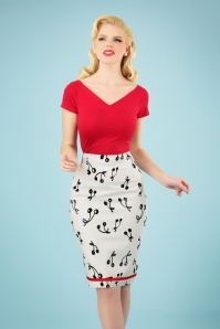 50s Cherry Pop Pencil Skirt in White