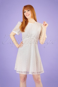 60s Day Trip Groove A-Line Dress in Cream