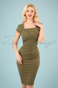 50s Laila Pleated Pencil Dress in Olive Green
