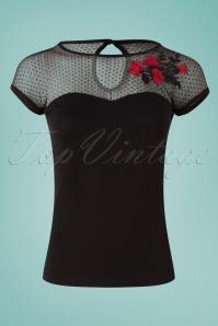 Queen Kerosin 27519 Mesh Roses Shirt 20190214 001W