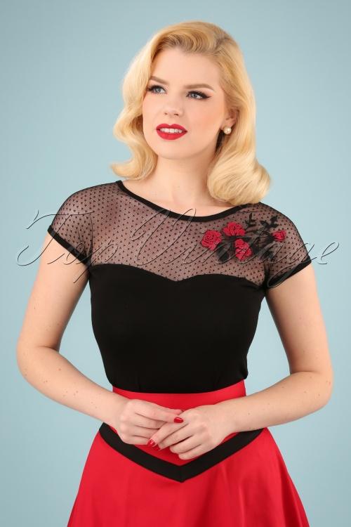 Queen Kerosin 27519 Mesh Roses Shirt 20190214 040W