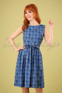 50s Lauren Divers Dress in Blue