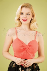 50s Wrap Front Top in Coral