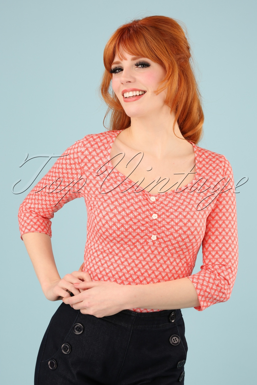 60s Shirts, T-shirt, Blouses | 70s Shirts, Tops, Vests 60s New Beginnings Top in Art Deco Peach £32.30 AT vintagedancer.com