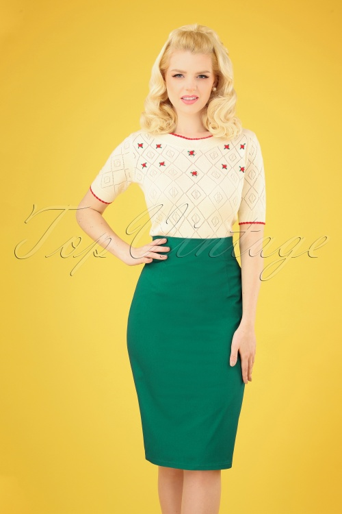 Dolly and Dotty 29159 50s Falda Green Pencil Dress 20190222 004 020W