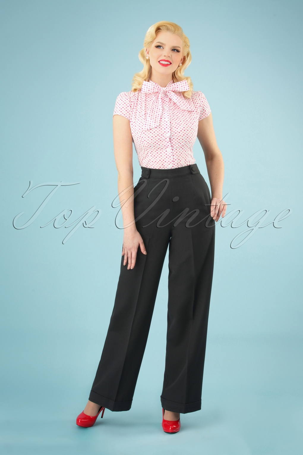 Vintage High Waisted Trousers, Sailor Pants, Jeans 40s Party On Classy Trousers in Black £31.61 AT vintagedancer.com