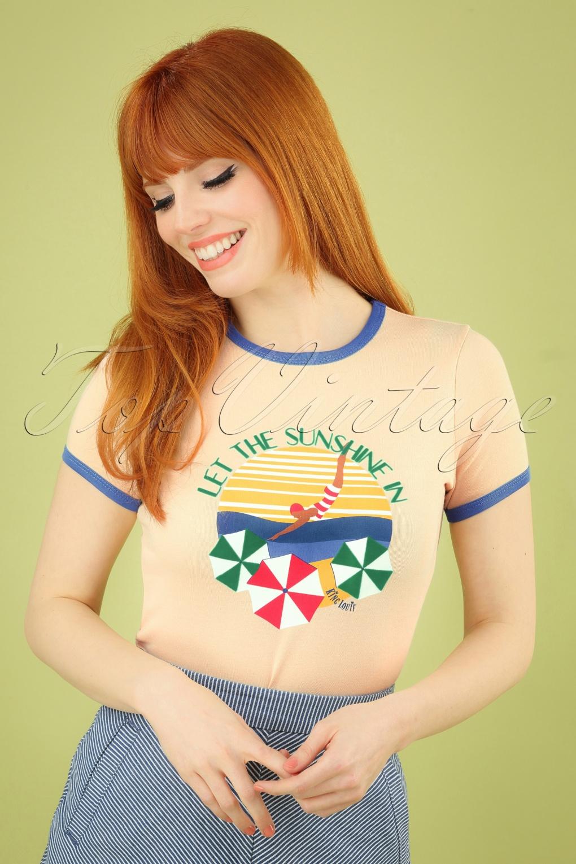 60s Shirts, T-shirt, Blouses | 70s Shirts, Tops, Vests 50s Sunshine Tee in Cream �35.23 AT vintagedancer.com