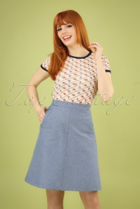 60s Davis Denim Striped Skirt in Moonlight Blue