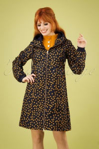 60s Line Softshell Polkadot Coat in Navy and Amber