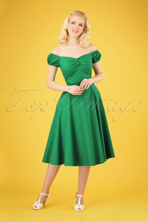 Collectif Clothing 28607 Dolores Green Plain Doll Swing Dress 20190305 010 020W