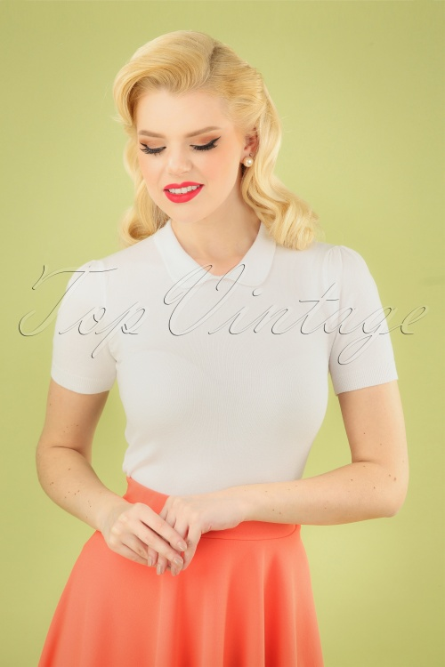 Collectif Clothing 27445 Wendy Plain Knitted Top in Ivory 20180813 001 020W