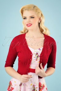 Collectif Clothing 27443 Evie Heart Cardigan in Red 20180813 001 020W