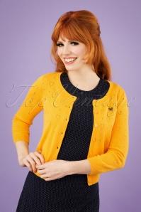 60s Wonderwaist Hope Heart Cardigan in Sun Yellow