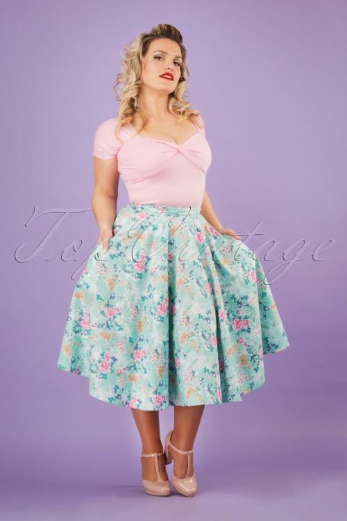 Bunny 28835 Sakura 50s Swing Skirt in Blue 20190205 01W