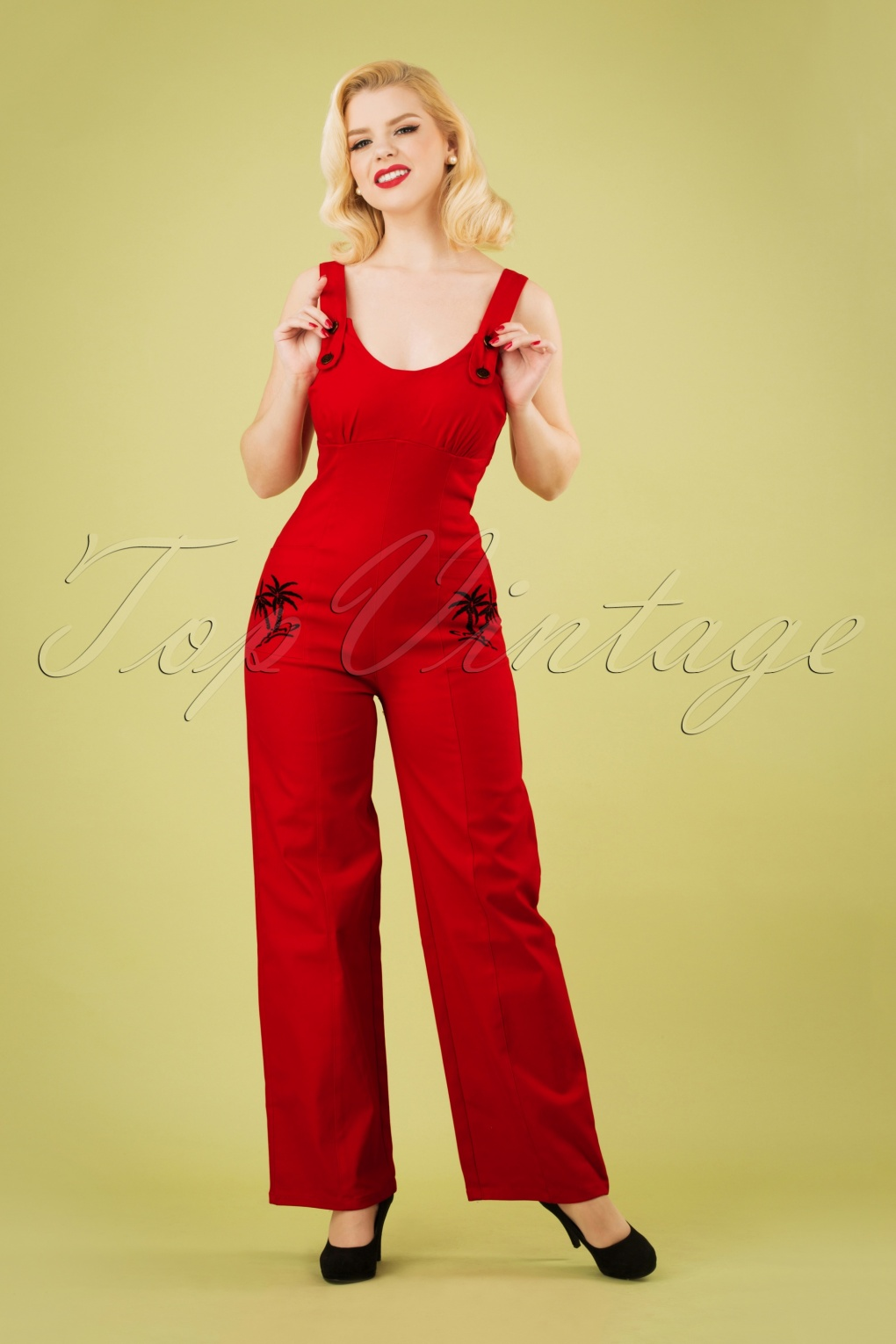 Vintage Overalls 1910s -1950s History & Shop Overalls 50s Jenna Palm Tree Dungarees in Red �69.92 AT vintagedancer.com