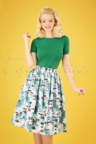 50s Nissi Swing Skirt in Hawaii Blue