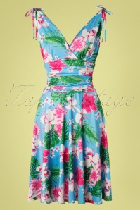 50s Grecian Hawaii Dress in Sky Blue