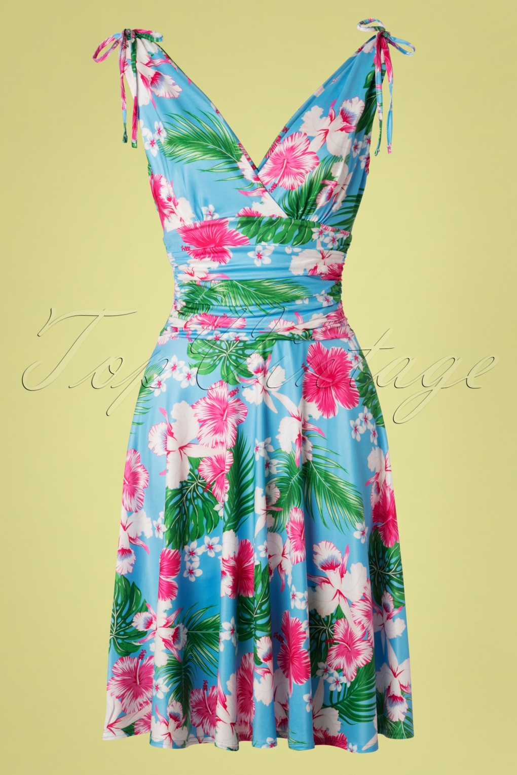 New Fifties Dresses | 50s Inspired Dresses 50s Grecian Hawaii Dress in Sky Blue £33.12 AT vintagedancer.com
