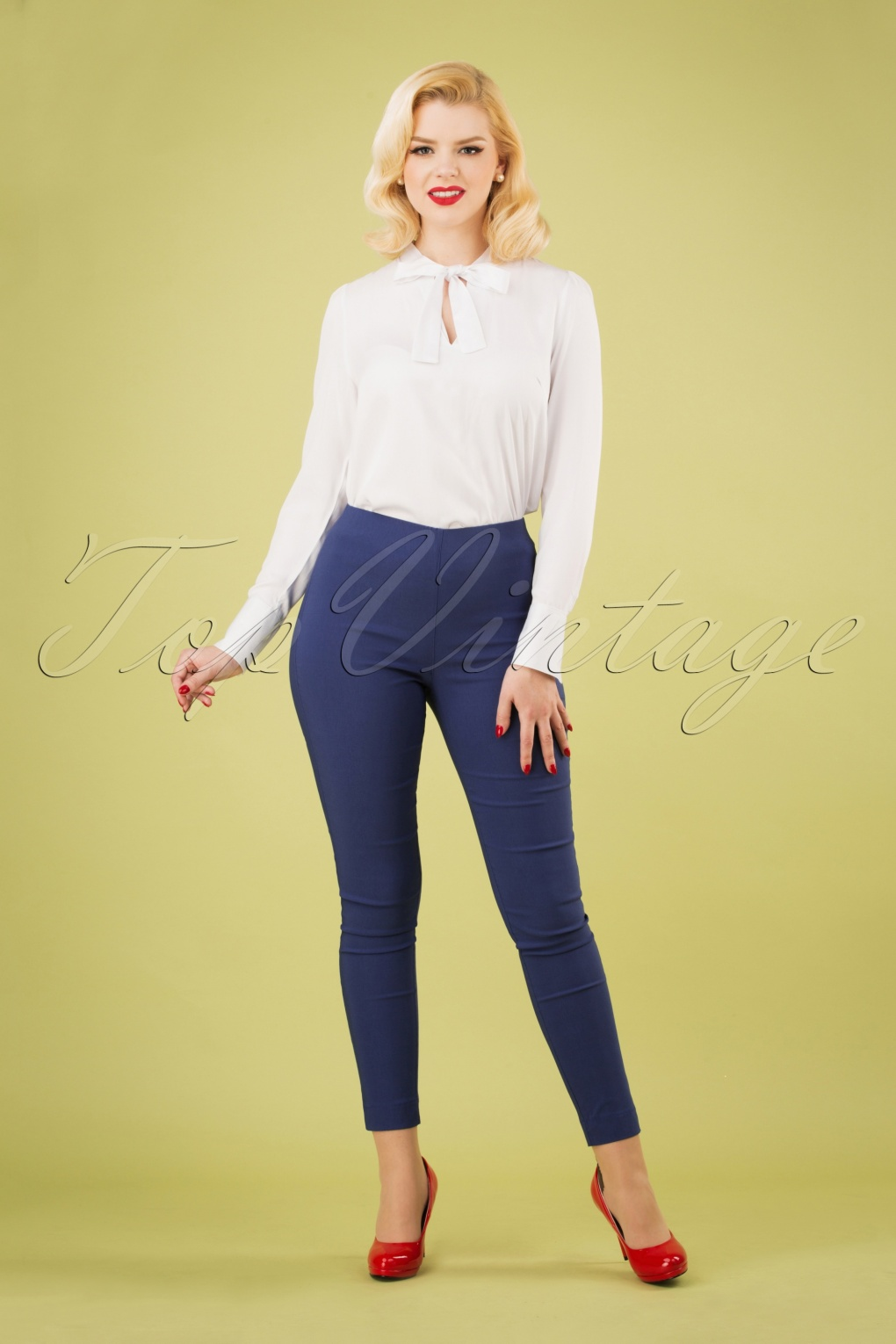 1950s Pants & Jeans- High Waist, Wide Leg, Capri, Pedal Pushers 50s Susan Skinny Pants in Blueberry £21.95 AT vintagedancer.com