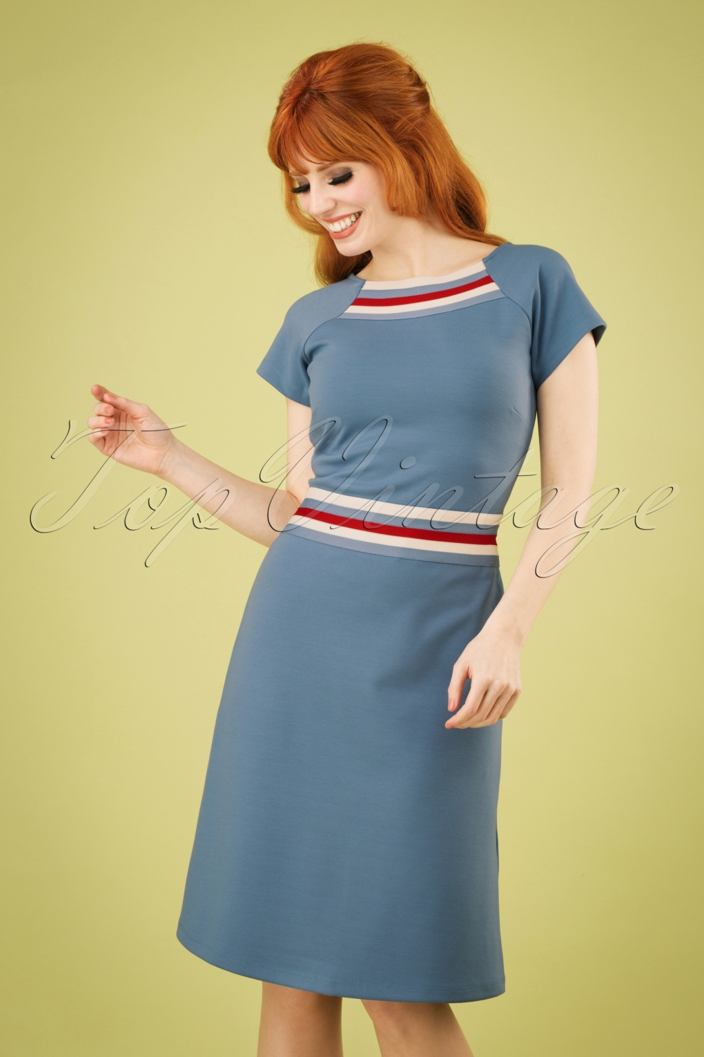 500 Vintage Style Dresses for Sale 60s A Trip To Rome Dress in Stone Blue �81.98 AT vintagedancer.com