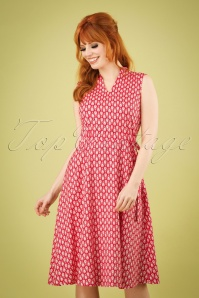 60s Dina Drawstring Dress in Teardrop Red