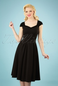 50s Merryweather Polka Dot Swing Dress in Black