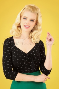 50s Brooke Bow Top in Black and Pink