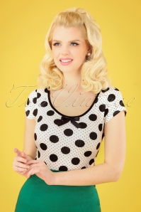 50s Blossom Dot Top in Black and White