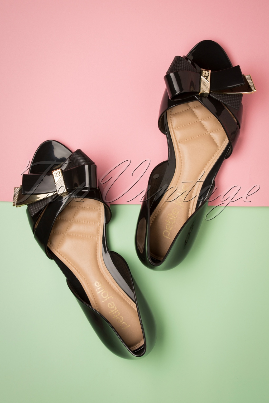 Retro Vintage Flats and Low Heel Shoes 60s Abby Bow Peeptoe Flats in Preto Black �35.00 AT vintagedancer.com