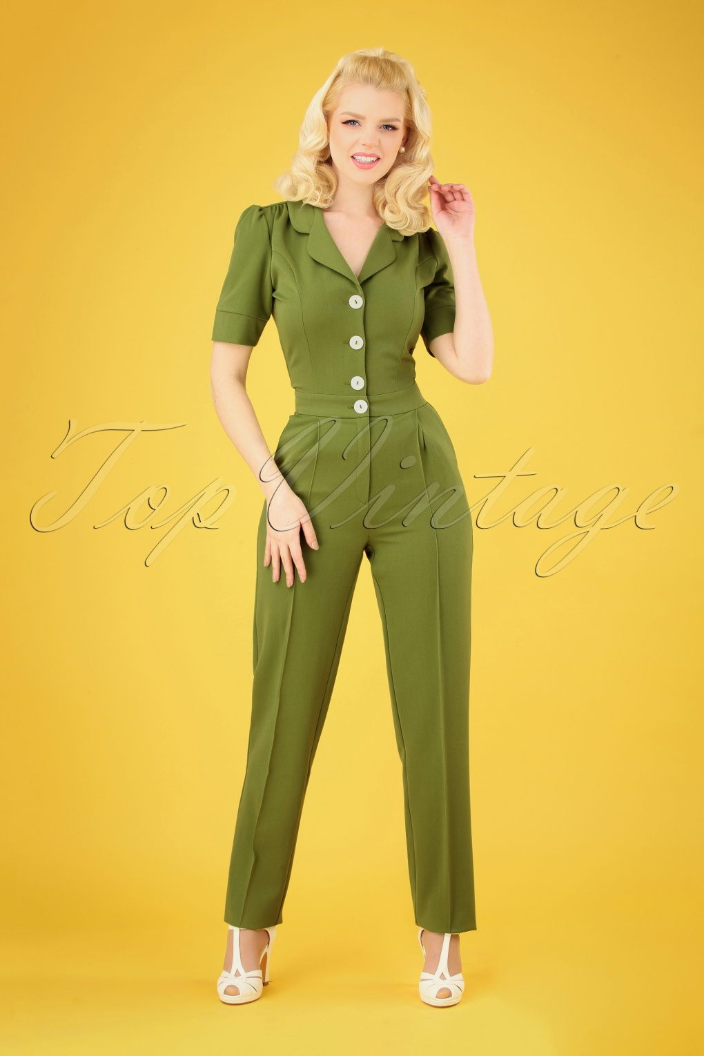 1940s Dresses and Clothing UK | 40s Shoes UK 40s Classic Jumpsuit in Olive Green £120.13 AT vintagedancer.com