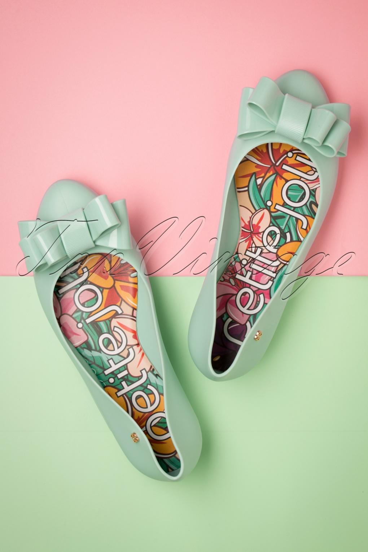 Rockabilly Shoes- Heels, Pumps, Boots, Flats 60s Larissa Bow Flats in Uber Pistache �35.00 AT vintagedancer.com