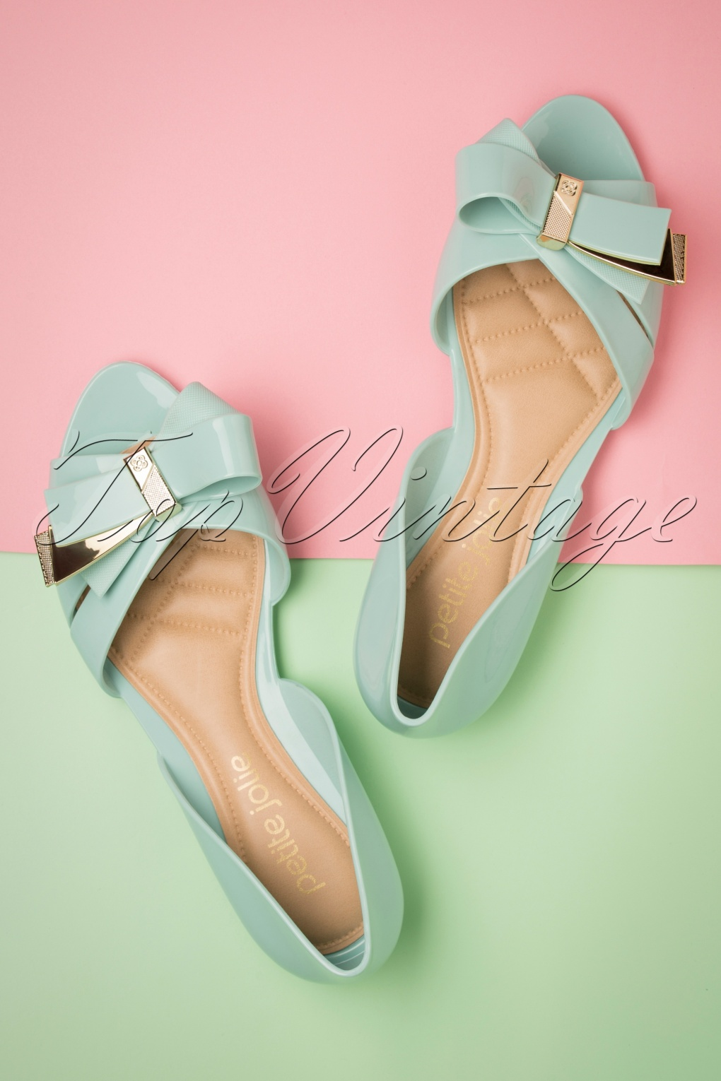 Retro Vintage Flats and Low Heel Shoes 60s Abby Bow Peeptoe Flats in Uber Pistache �35.00 AT vintagedancer.com