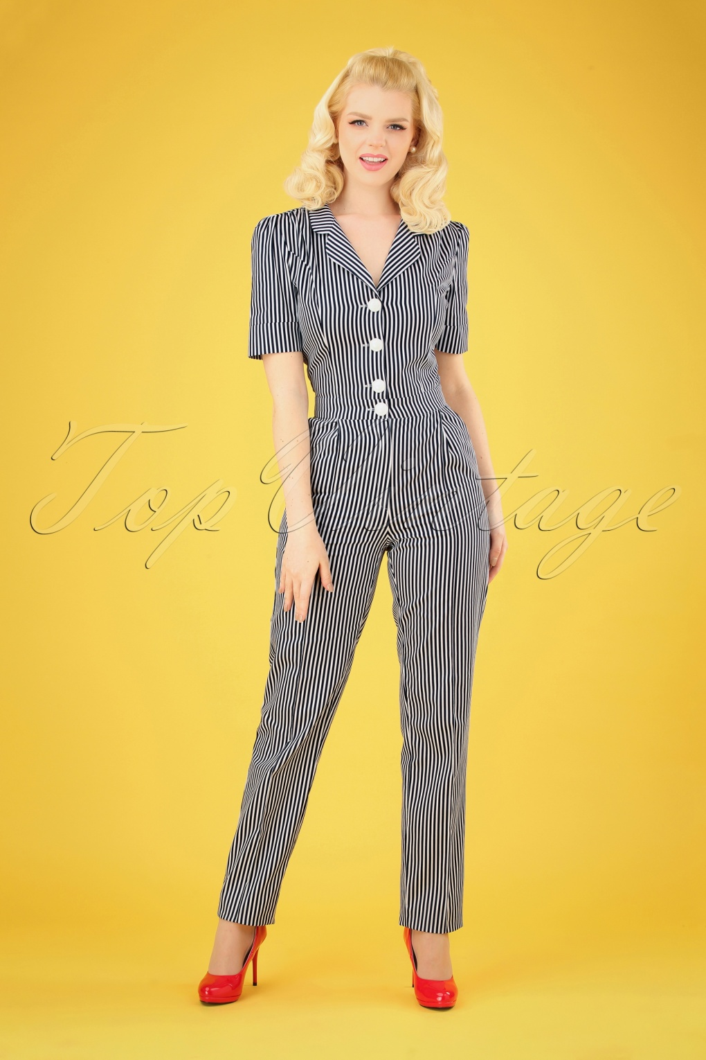1940s Dresses and Clothing UK | 40s Shoes UK 40s Classic Jumpsuit in Navy and White Stripes �142.42 AT vintagedancer.com