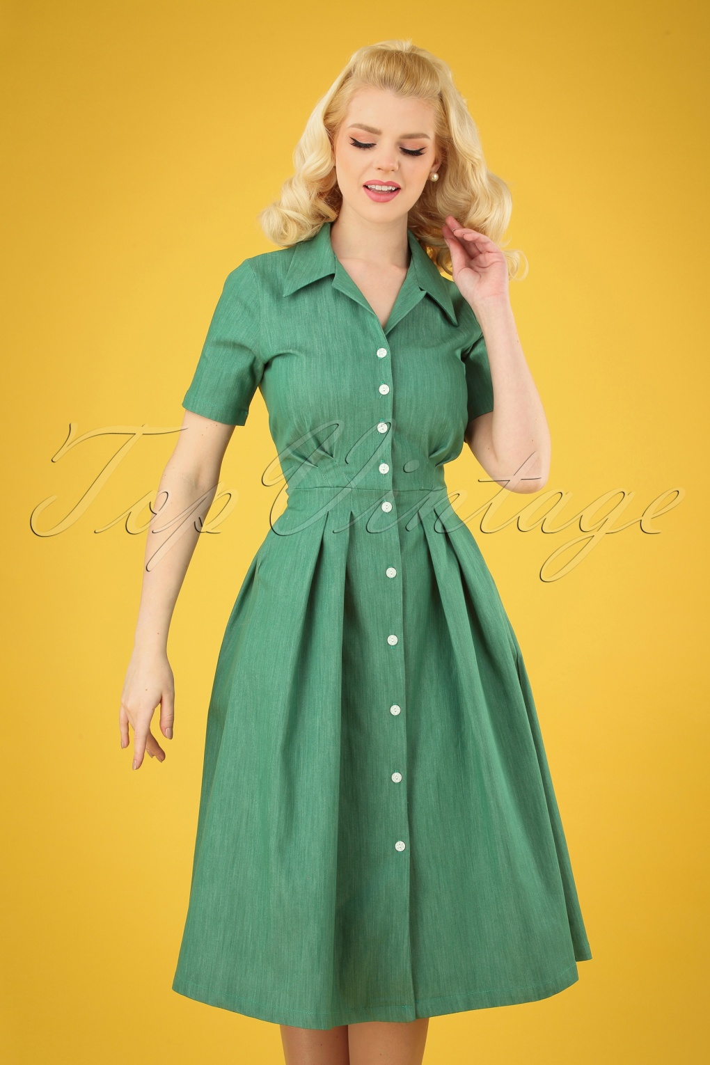 Vintage Tea Dresses, Floral Tea Dresses, Tea Length Dresses 50s Janet Swing Dress in Green Denim �94.93 AT vintagedancer.com