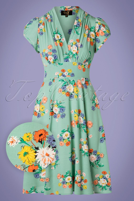 1930s Dresses, Shoes, Lingerie, Clothing UK 30s Ava Love Story Tea Dress in Green �142.42 AT vintagedancer.com