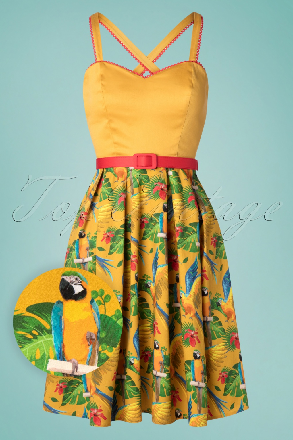 Retro Tiki, Tropical, Hawaiian Style Dresses 50s Carmen Tropical Hue Swing Dress in Gold �77.66 AT vintagedancer.com