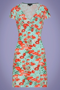 60s Rowana Floral Polkadot Pencil Dress in Mint