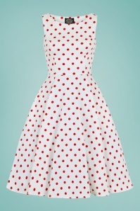 50s Cindy Polkadot Swing Dress in White and Red