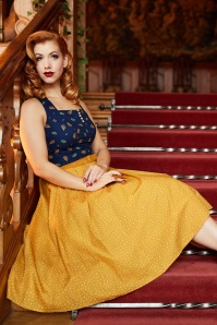 50s Ingrid Lee Fairytale Swing Dress in Mustard and Navy