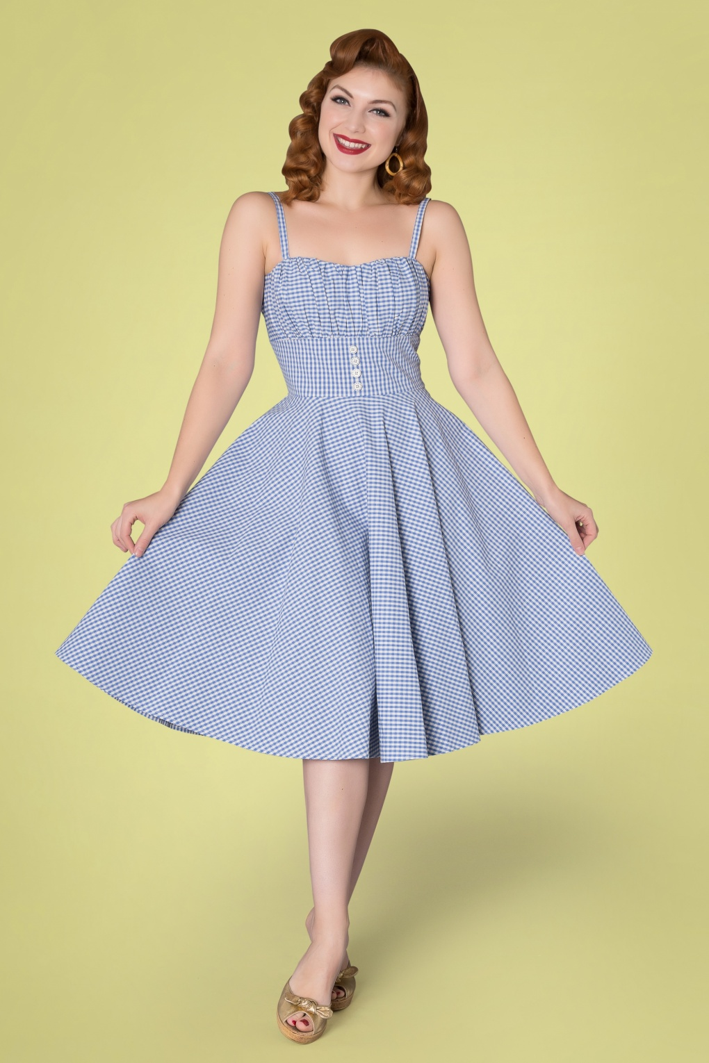 1950s Inspired Fashion: Recreate the Look 50s Melissendre Gingham Swing Dress in Blue and White £58.73 AT vintagedancer.com