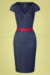 50s Irene Pencil Dress in Denim Blue