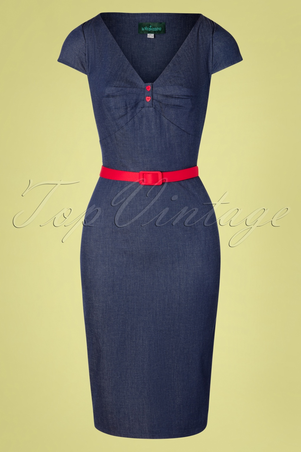 500 Vintage Style Dresses for Sale 50s Irene Pencil Dress in Denim Blue �77.66 AT vintagedancer.com