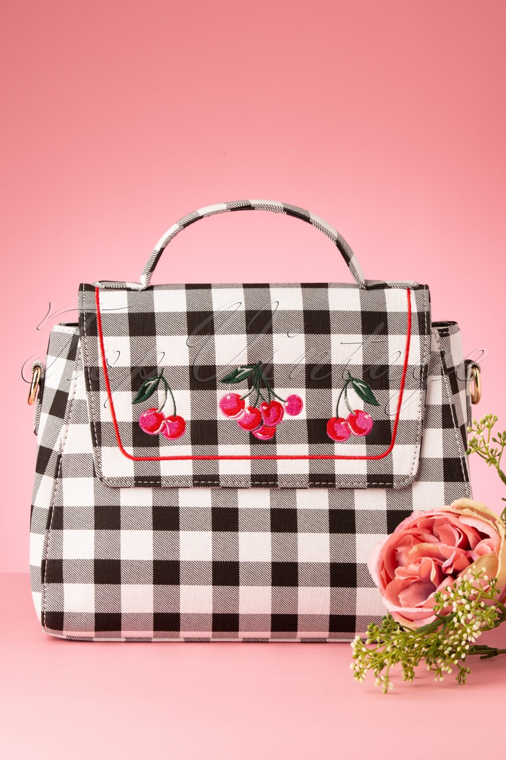 Vintage & Retro Handbags, Purses, Wallets, Bags 50s Sandra Gingham Cherry Bag in Black and White �48.53 AT vintagedancer.com