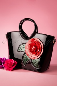 50s Red Rose Patent Handbag in Black