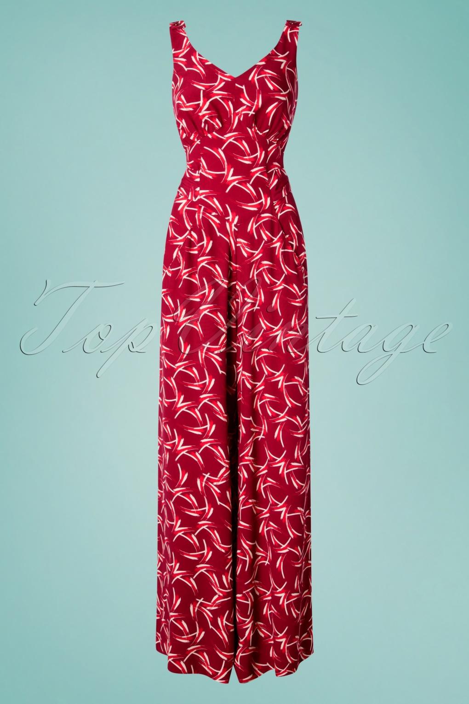 1930s Wide Leg Pants and Beach Pajamas 30s Biarritz Beach Pajamas Jumpsuit in Red �137.09 AT vintagedancer.com
