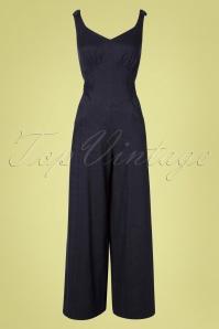 30s Biarritz Beach Pajamas Jumpsuit in Denim Blue