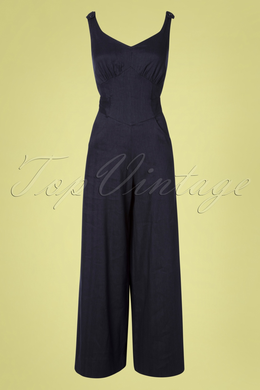 1930s Wide Leg Pants and Beach Pajamas 30s Biarritz Beach Pajamas Jumpsuit in Denim Blue �137.09 AT vintagedancer.com