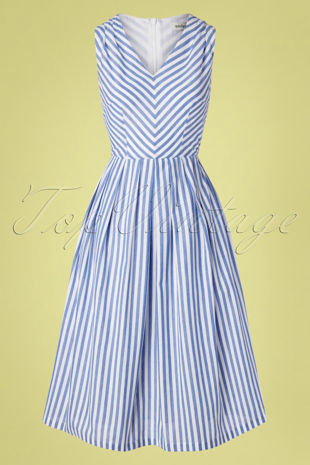 Vintage Cruise Outfits, Vacation Clothing 50s Josie Sunlounger Stripe Midi Dress in Blue and White �98.61 AT vintagedancer.com